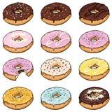 Vector Set of Cartoon Color Doughnuts Stock Photography