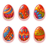Vector set of cartoon color eggs for Easter Royalty Free Stock Image