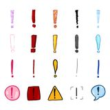 Vector Set of Cartoon Color Exclamation Marks Stock Photos