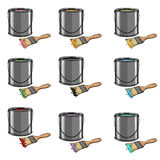Vector Set of Cartoon Color Paint Cans and Brushes Stock Image