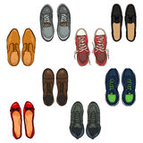 Vector Set of Cartoon Color Shoes Items. Royalty Free Stock Photography