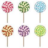 Vector Set of Cartoon Color Swirl Lolipops stock illustration
