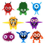 Vector set of cartoon cute monsters and aliens Royalty Free Stock Photography