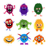 Vector set of cartoon cute monsters and aliens Royalty Free Stock Image