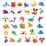 Vector set of cartoon cute monsters. Big vector set of cartoon cute monsters and aliens Royalty Free Stock Images