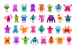 Vector set of cartoon cute monsters stock illustration