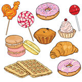 Vector Set of Cartoon Desserts. Lolipops, Doughnuts, Macaronies and Baking Royalty Free Stock Images