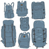 Vector Set of Cartoon Different Backpacks. Stock Images