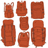 Vector Set of Cartoon Different Backpacks. Stock Photography