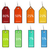 Vector Set of Cartoon Discount Tags. On White Background Royalty Free Stock Photo