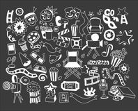 Vector set of cartoon doodle icons Cinema Royalty Free Stock Photography