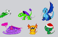 Vector set of cartoon dragons Royalty Free Stock Photography