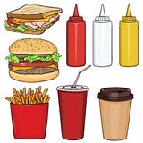 Vector Set of Cartoon Fast Food Items Royalty Free Stock Image