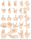 Vector Set of Cartoon Finger Gestures. On White Background Stock Image