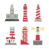 Vector set of cartoon flat lighthouses. Stock Images
