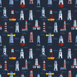 Vector set of cartoon flat lighthouses. Royalty Free Stock Images