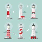 Vector set of cartoon flat lighthouses Stock Photos