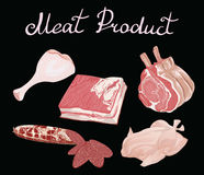 Vector set of cartoon food. Collection of stylized raw meat. Sliced assortment of fresh meat. Pork steaks and tenderloin Stock Photo