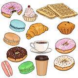 Vector Set of Cartoon Food Items Royalty Free Stock Photos