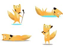 Cute, funny animals, fox character doing various actions royalty free illustration