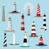 Vector set of cartoon lighthouses. Stock Photo