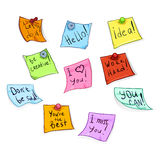 Vector Set of Cartoon Office Stickers with Motivation Phrases Stock Images