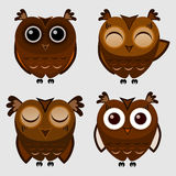 Vector set of cartoon owls Royalty Free Stock Photo