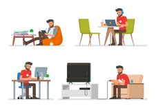 Vector set of cartoon people characters in flat style design. Hipster man playing video games, reading electronic book. And working with computer. People icons Royalty Free Stock Images