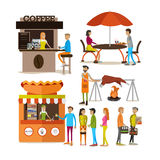 Vector set of cartoon people characters and street food stalls isolated on white background. Stock Photos