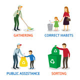 Vector set of cartoon people gathering garbage Stock Photo