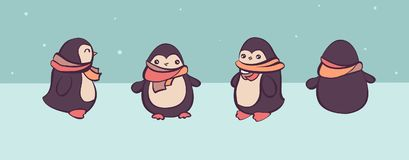 Vector set of cartoon pinguins in different views, convenient for animation design.  Royalty Free Stock Photography