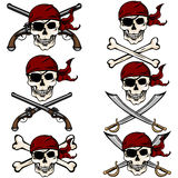 Vector Set of Cartoon Pirate Skulls in Red Bandana Stock Photos