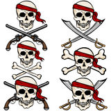 Vector Set of Cartoon Pirate Skulls in Red Headband Stock Images