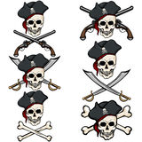Vector Set of Cartoon Pirate Skulls in Tricorn Stock Photo