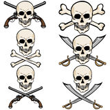 Vector Set of Cartoon Pirate Skulls Stock Image