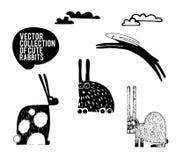 Vector set of cartoon rabbits Stock Image