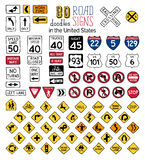 Vector set of cartoon road signs in the United States. Royalty Free Stock Image