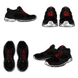 Vector Set of Cartoon Running Shoes. Royalty Free Stock Photography