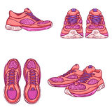 Vector Set of Cartoon Running Shoes. Royalty Free Stock Image