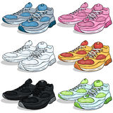 Vector Set of Cartoon Running Shoes Royalty Free Stock Image