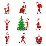 Vector set cartoon Santa Claus ready for Christmas Royalty Free Stock Photos