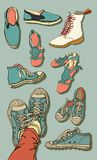 Vector Set of Cartoon Shoes Stock Images