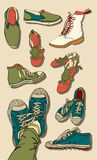 Vector Set of Cartoon Shoes Royalty Free Stock Photo
