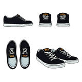 Vector Set of Cartoon Skaters Shoes. Top, Side and Front Views Royalty Free Stock Images