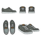 Vector Set of Cartoon Skaters Shoes. Top, Side and Front Views Royalty Free Stock Image