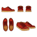 Vector Set of Cartoon Skaters Shoes. Top, Side and Front Views Stock Photo