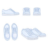 Vector Set of Cartoon Skaters Shoes. Top, Side and Front Views Stock Photos