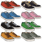Vector Set of Cartoon Skaters Shoes Royalty Free Stock Photo