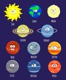 Vector set of cartoon solar system planets. Solar system illus vector illustration