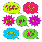Vector set of Cartoon speech bubbles. Hand drawn set with phrases Hi, Hello, Thank you, Yes, Wow, Bye.Cute Internet Slang Wording Vector Design Illustration Stock Images